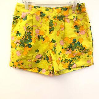 花花短褲 Dries Van Noten green flowers shorts size 38