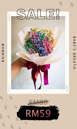 Flower bouquet baby's breath rainbow