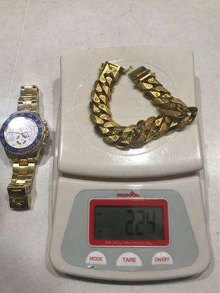 916 Gold 225 grams of solid beautiful thick gold bracelet for a successful man