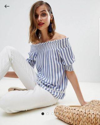 Warehouse Bardot striped top size 10