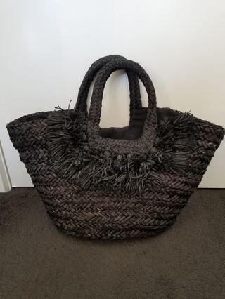 Kookai black straw bag