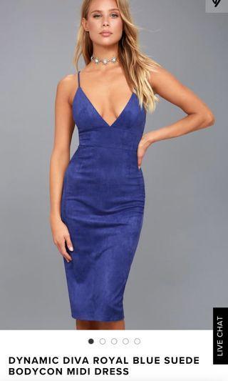 BLUE SUEDE DRESS BODYCON