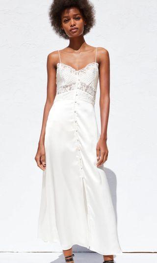 BN Zara Lace Satin Silk Maxi Dress