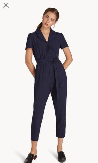 Pomelo Navy Blue Collared Jumpsuit with Sash