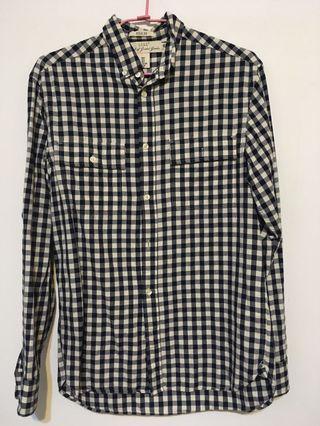 #轉轉背肩包 H&M 藍白格紋襯衫 雙口袋