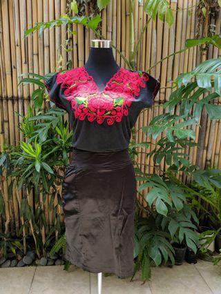 Floral Embroidered Top with Skirt