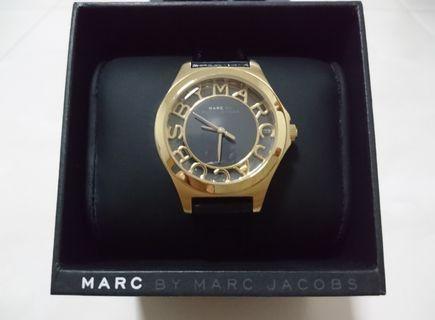 Marc Jacobs Leather Strap (in Black - Gold Color)  diameter 34mm MBM 1340 (Authentic)