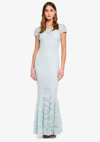Pastel Lace Cap Sleeves Mermaid Gown Maxi Dress