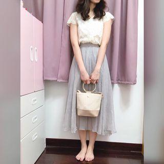 全新出清!正韓韓貨細緻優雅微絲光紗裙(白米/灰兩色)