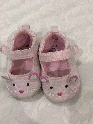 Sepatu baby prewalker pink mouse