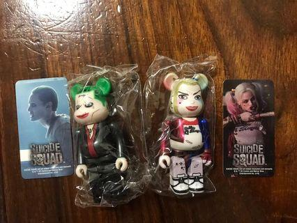 bearbrick one set of suicide squad joker and harley quinn 100%