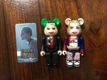 Bearbrick one set of suicide squad joker and harley quinn 100% 開封