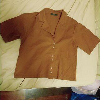 🚚 Mq復古棉麻排釦短袖上衣