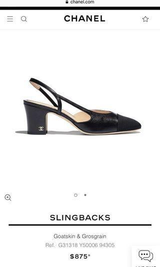 278ec401c722 CHANEL Classic Slingbacks 38 Black Goatskin Noir Grosgrain Cap Toe Block  Heel Gold CC Slingback Pumps EUC