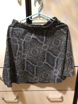 H&M 深藍色圖案半截裙
