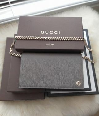 Gucci Dollar Wallet on Chain in Grey w gold hardware