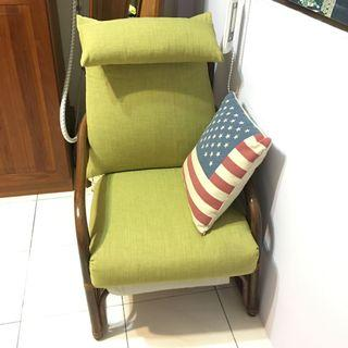 復古藤椅,單椅,全新坐墊,詩肯、新麗屋、柚木、實木可參考