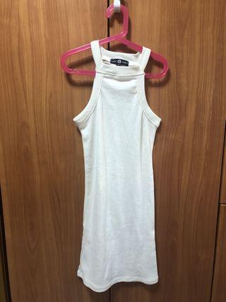 White Halter Knitted Dress
