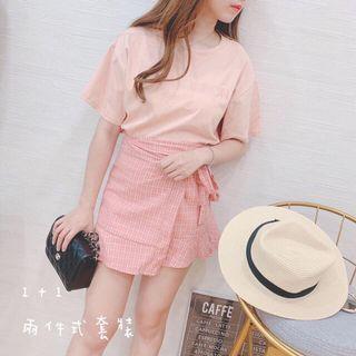 🚚 粉色顯瘦裙子套裝