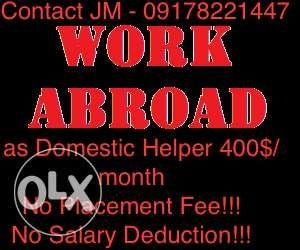 Work Abroad As Domestic Helper No Placement Fee Dh Job Hiring To