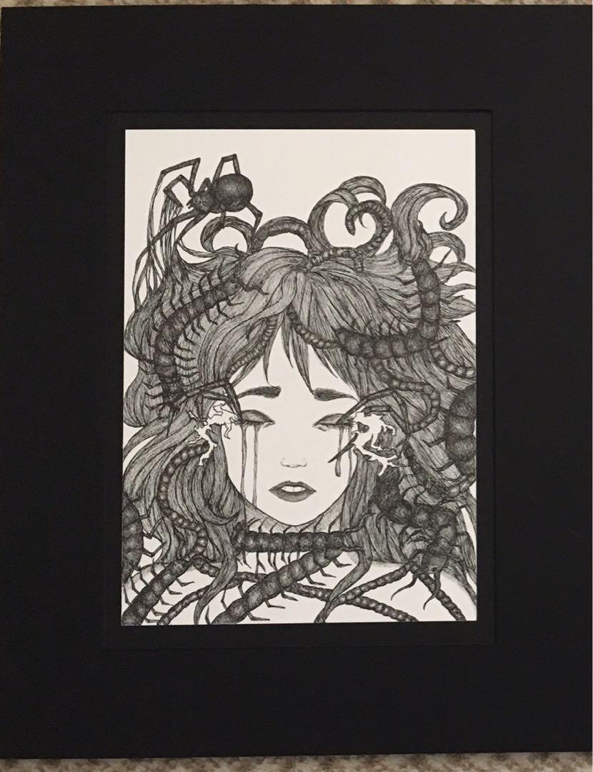 A4 original ink pen drawing (framed on black a3 mount)