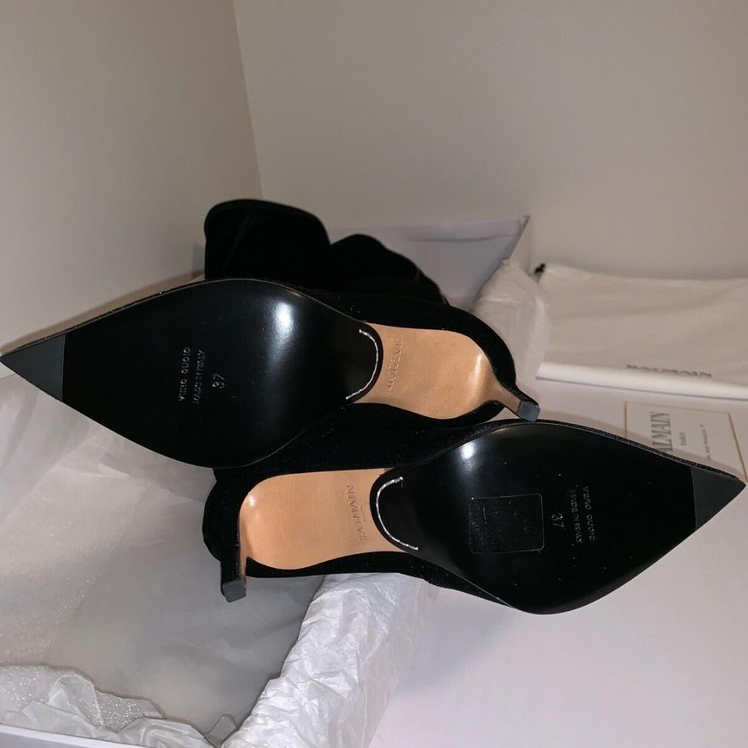 BALMAIN Amazone glittered velvet over-the-knee boots