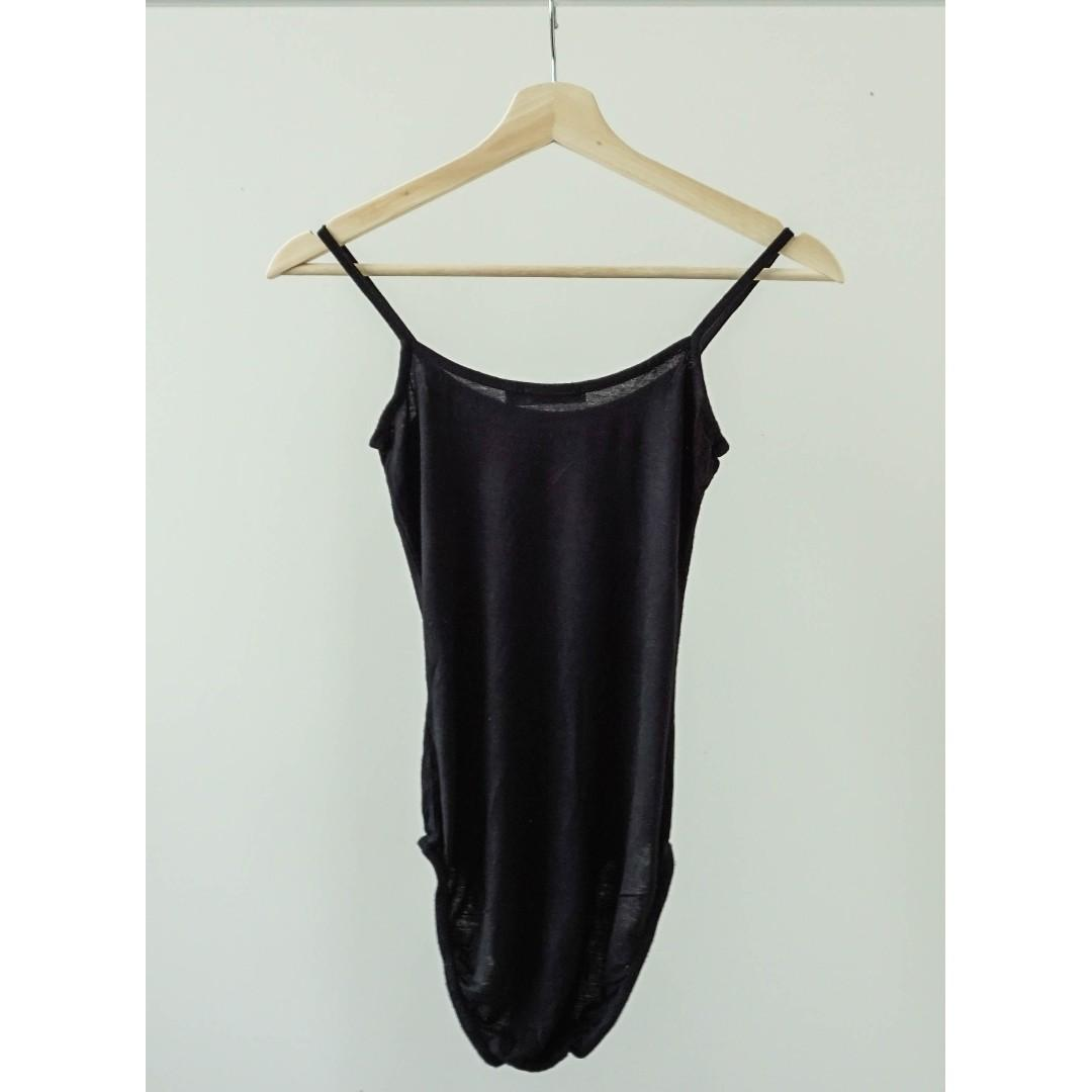 Boohoo black strap bodysuit with buttoned bottom(XS/S)