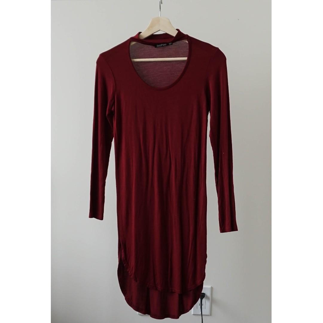 Boohoo mock neck choker U neck red long sleeve dress (XS/S)