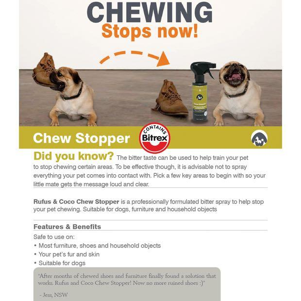 Chew Stopper Spray for Dogs Rufus and Coco