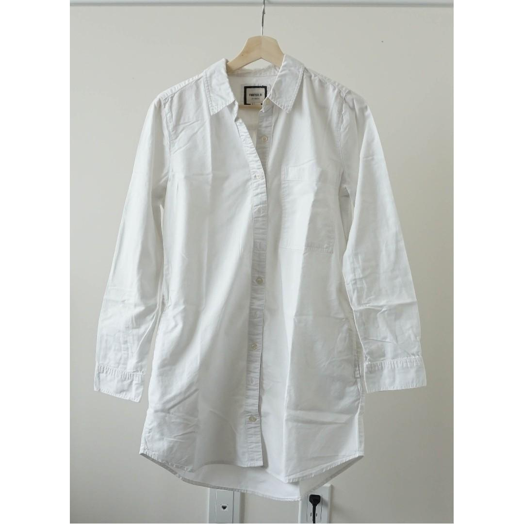 Forever 21 White oversized long sleeve boyfriend shirt dress with pockets (xs/s/m)
