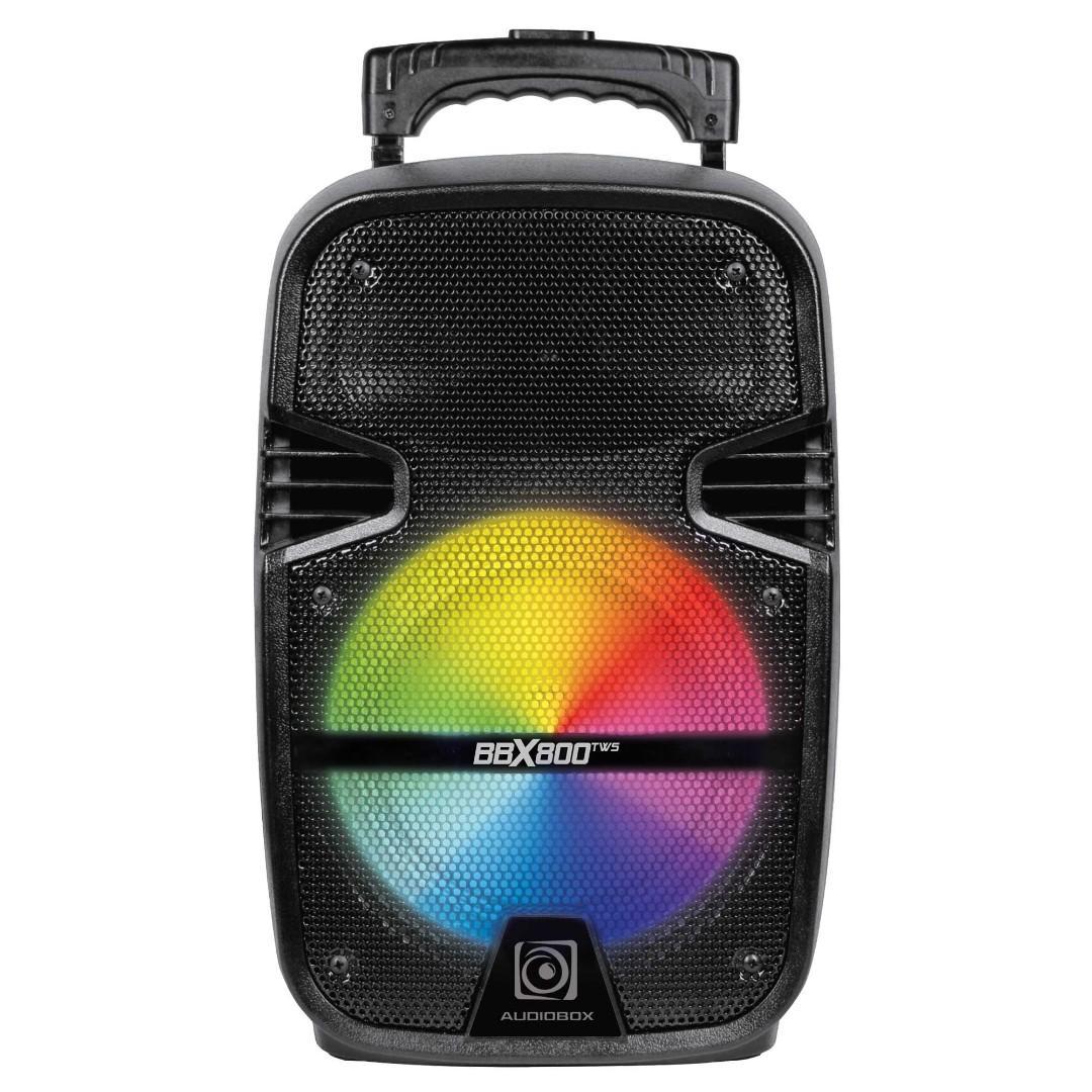 *Free Wireless Mic Audiobox BBX800 TWS Bluetooth Trolley Speaker with FM Radio
