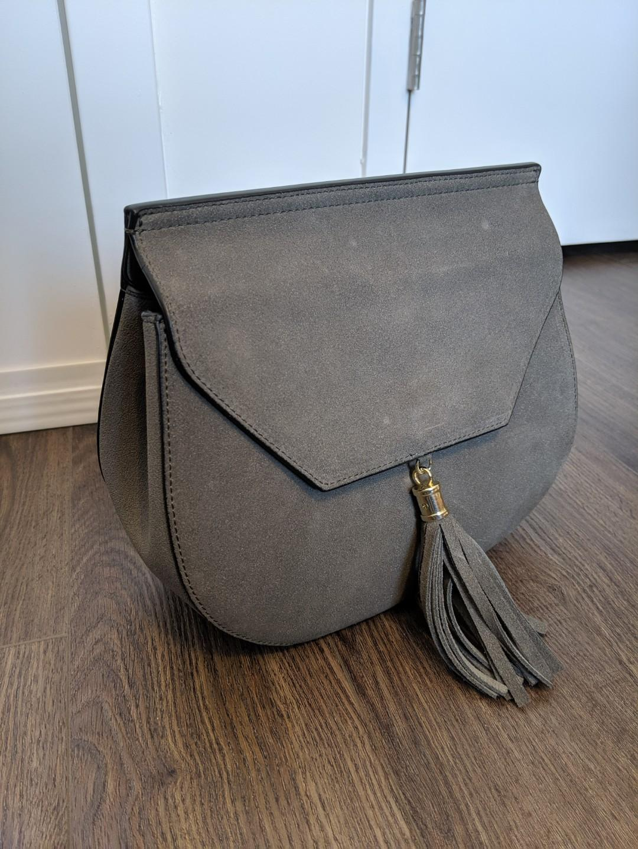 Grey Suede Tassle Bag