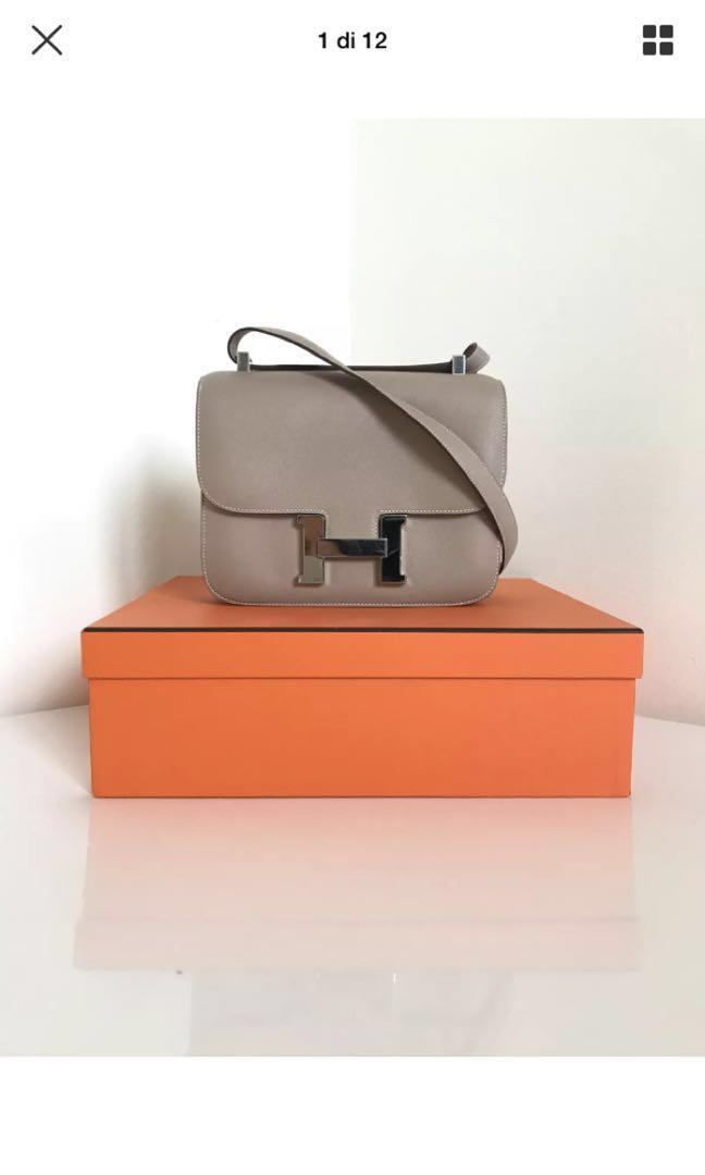 Hermes Constance Epson leather grey color
