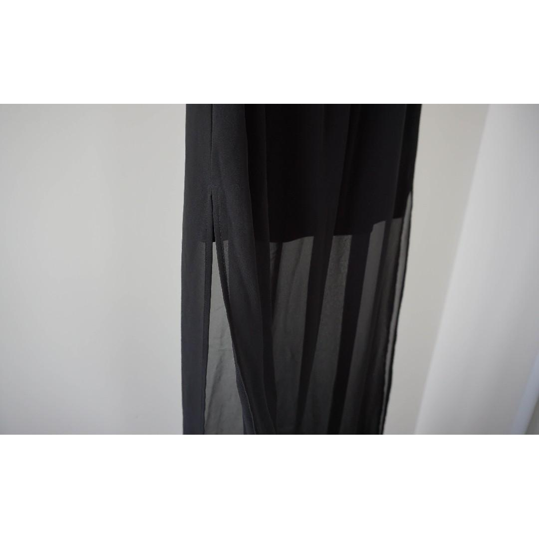 H&M black Mock 2 piece sheer mini x maxi skirt (xs)
