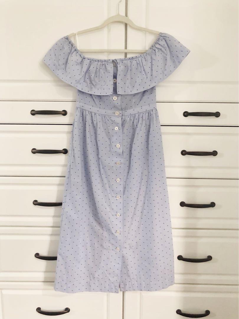 H&M light blue button front off shoulder cotton midi dress - Size 4