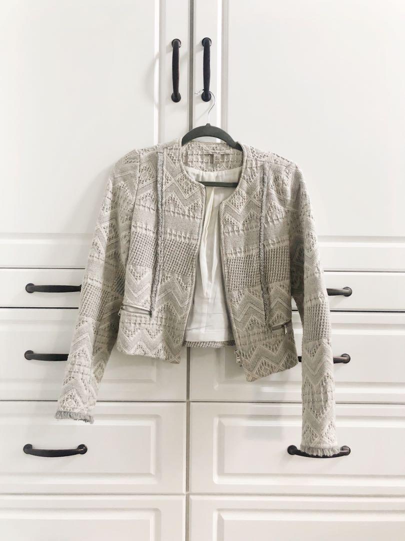 H&M light grey / cream wool tweed cropped jacket / blazer, size small
