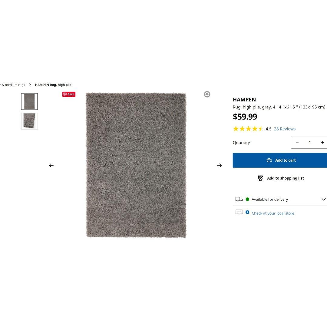 IKEA Black high pile rug (4'4 x 6'5) (133 x 195 cm)