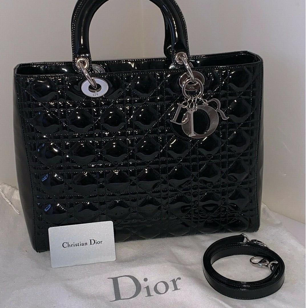 Lady Dior Black Patent Leather silver hardware Large Bag Tote