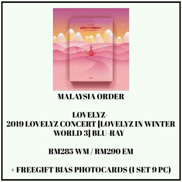 LOVELYZ- 2019 LOVELYZ CONCERT [LOVELYZ IN WINTER WORLD 3] BLU-RAY  - PREORDER/NORMAL ORDER/GROUP ORDER/GO + FREE GIFT BIAS PHOTOCARDS (1 ALBUM GET 1 SET PC, 1 SET HAS 9 PC)
