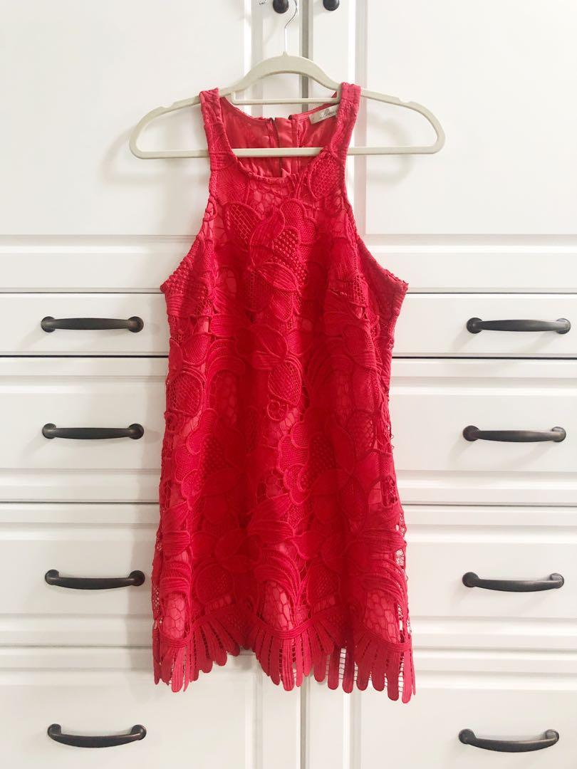 Lovers + Friends / REVOLVE 'Caspian' shift dress - Coral red lace - Size S