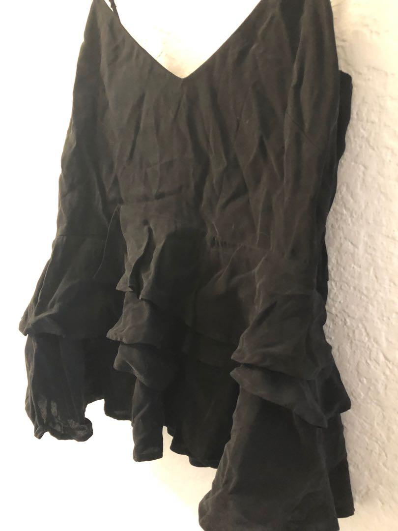Never worn - Black peplum frill singlet top - size XS
