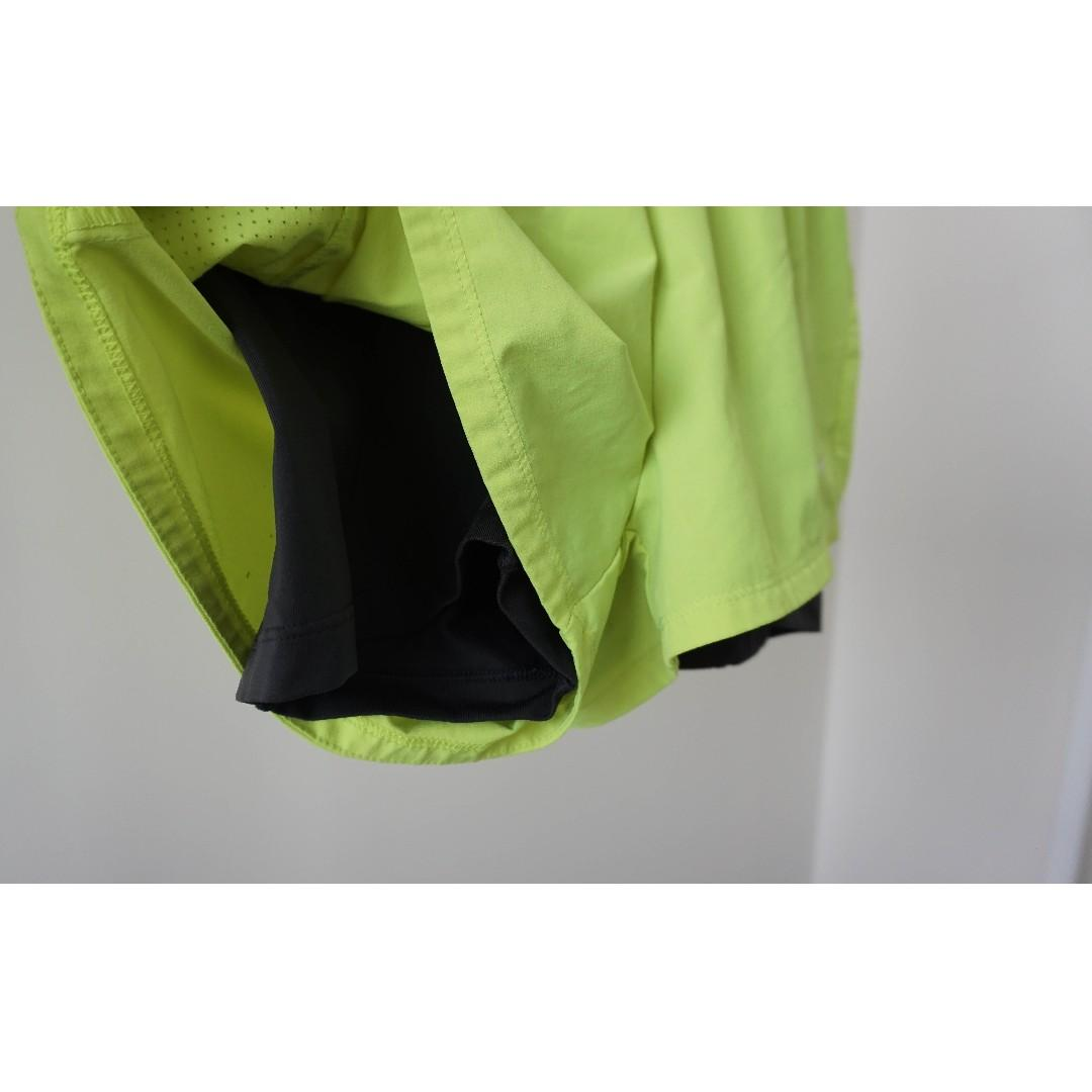 Nike neon dry-fit mock two piece running shorts with spandex (xs/s)