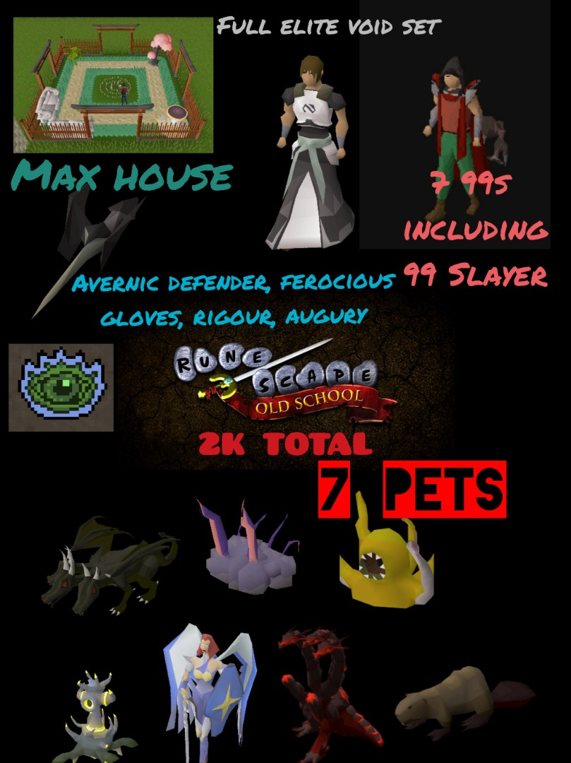 OSRS Lvl 123 High RNG 1X kc Tbow, $130 untradeables, 2K total, 99 Slayer, 7  Pets, 7 Skillcapes, Max