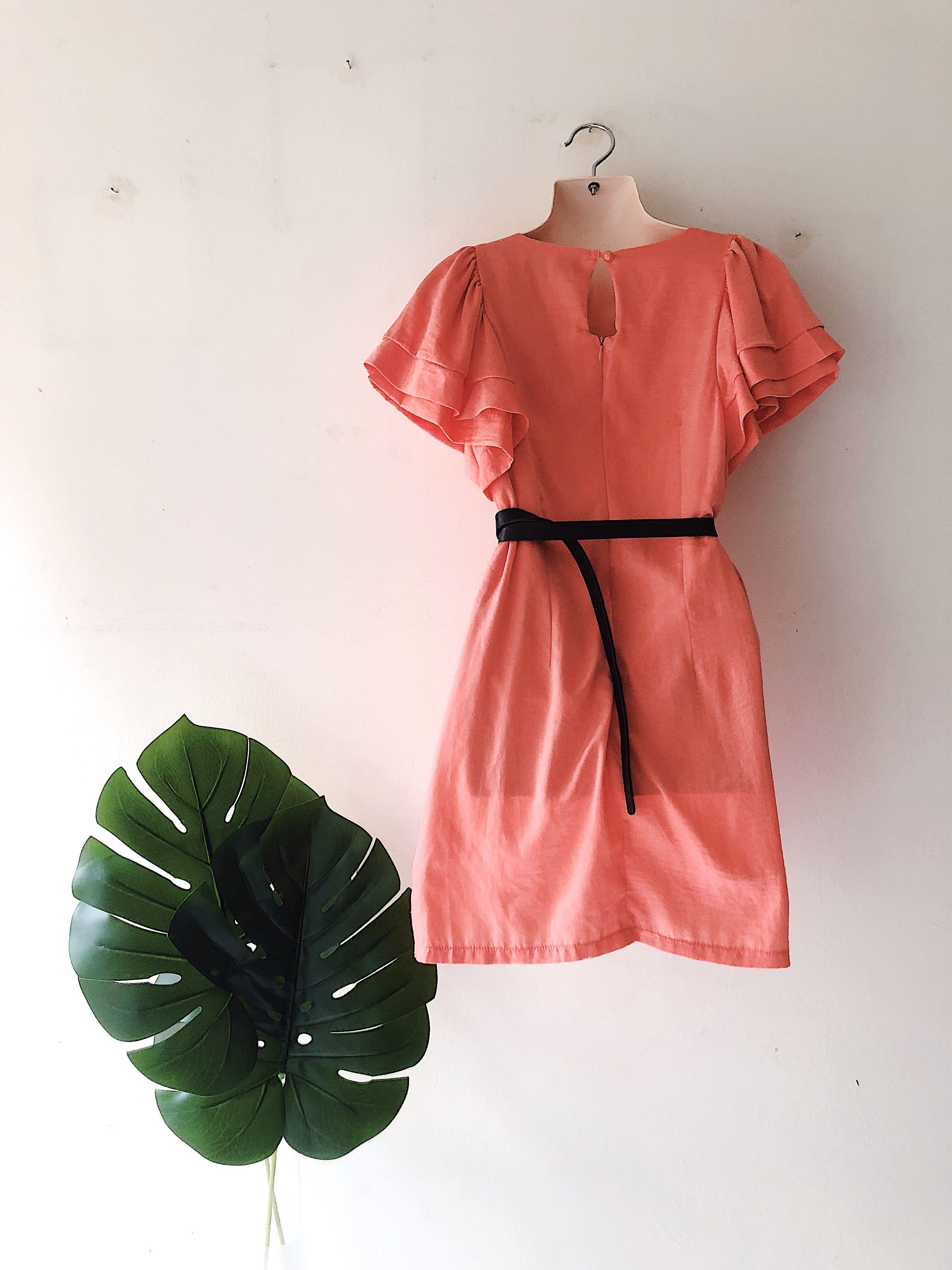 Peach Ruffle Sleeved Dress