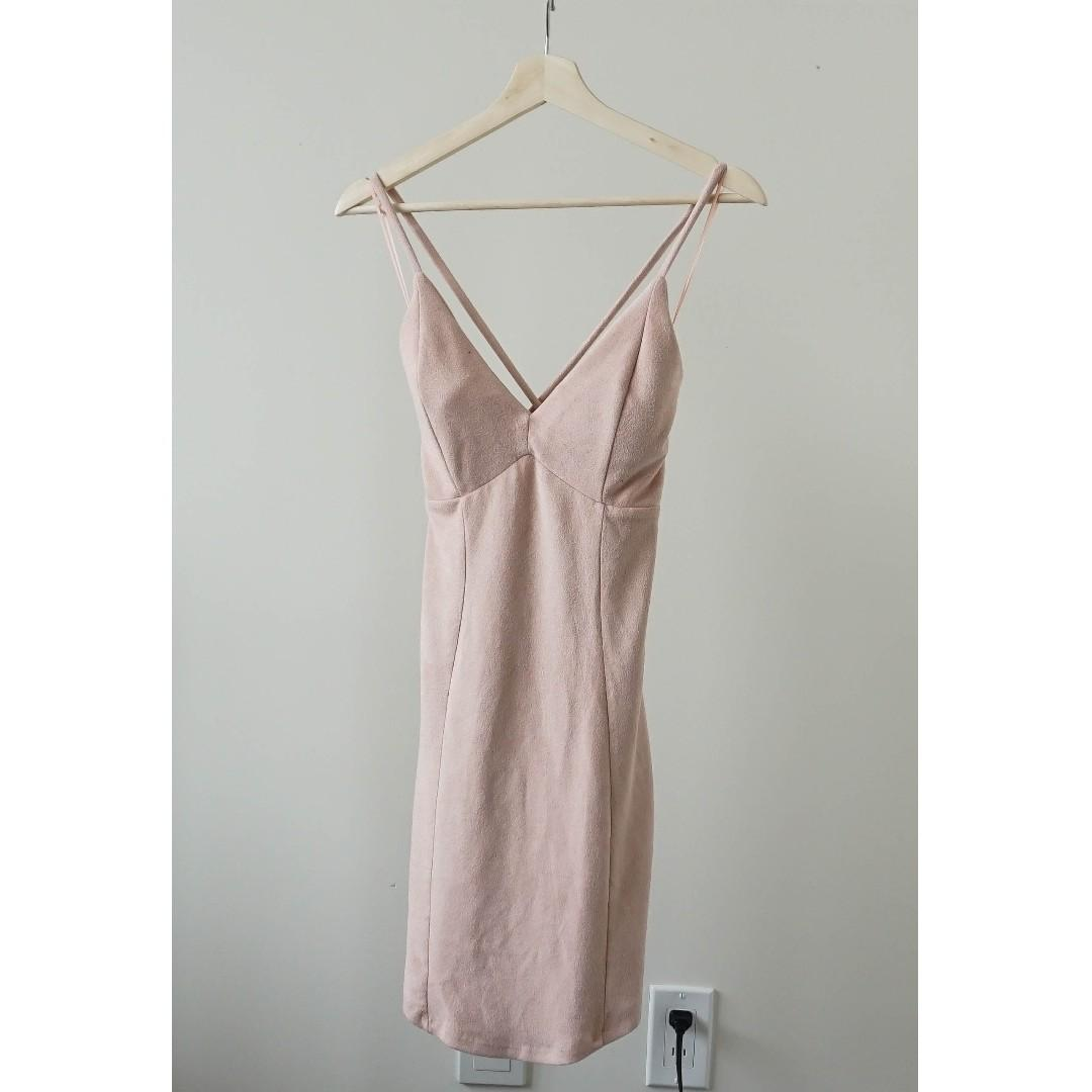 Pink cut-out back strappy suede padded bodycon dress (XS/S)