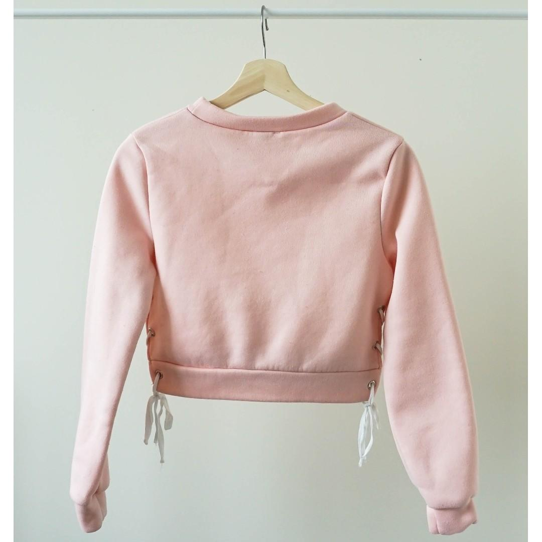 Pink cut-out strappy long sleeve cropped sweater (XS)
