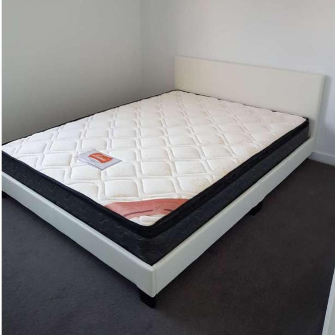 PU Bed Black/white with Pillow Top Mattress( Double-$370/Queen $399)