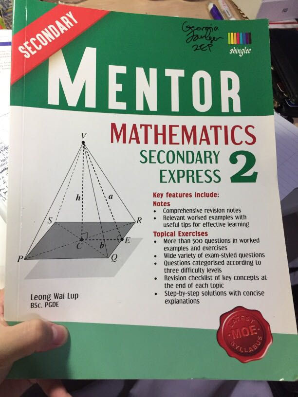 Secondary Two Mentor Express Math Shinglee Latest Moe Syllabus