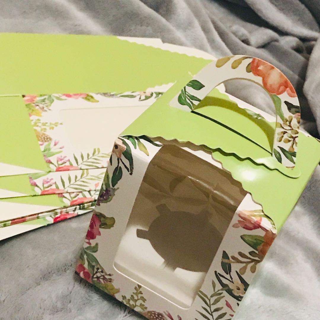 Single Cupcake Boxes with Inserts Window Handle Individual Cardboard 10x