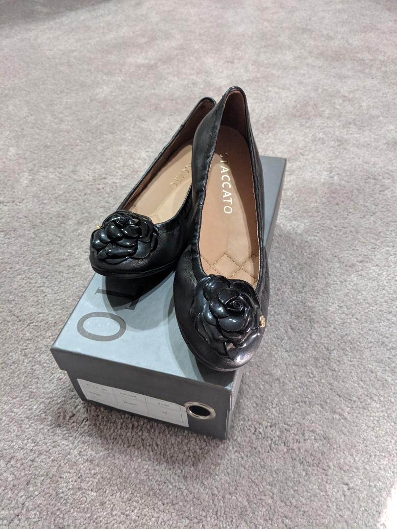 Staccato black leather ballet flats size 36
